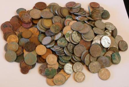 Coin finds on the Beach