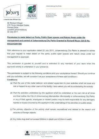 Metal detecting permission letter