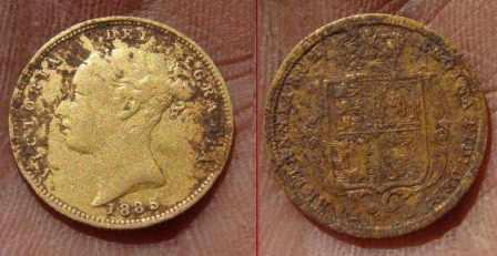 Gold half sovereign 1885